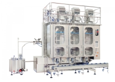 Vertical form fill seal machine for PepUP® pouches - A patented valve, sealed during the filling at the machine, enables a self-closing pouch without additional accessories.