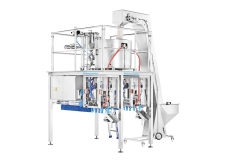Machines SF for filling and capping spouted flexible pouches - Spout Doypack® fillers available from 1 to 6 lines of filling, which gives the ability to reach up to 240 pouches/min.