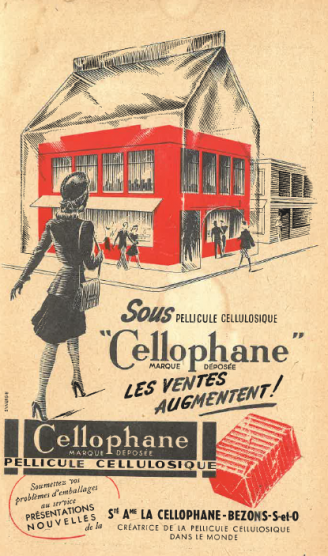 1947 advertising for cellophane