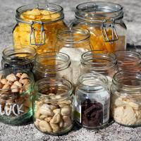 Food in glass jars
